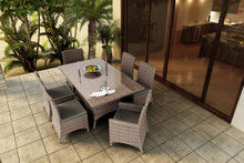 Forever Patio Barbados Resin Wicker 7 Piece Rectangle Dining Set Biscuit, Canvas Taupe With Canvas Linen Canvas Welt Sunbrella Fabric