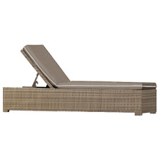 Forever Patio Barbados Single Adjustable Wicker Chaise Lounge Biscuit, Canvas Taupe With Canvas Linen Canvas Welt Sunbrella Fabric