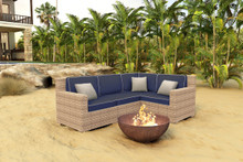 Forever Patio Hampton 4 Piece Wicker Sectional Set Biscuit Sunbrella Spectrum Indigo With Spectrum Dove Welt