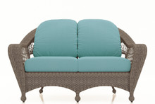 Forever Patio Catalina Wicker Loveseat Heather Sunbrella Canvas Spa