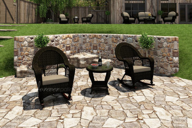Forever Patio 3 Piece Catalina Wicker Rocking Chat Set Sable Sunbrella Spectrum Mushroom