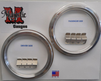 47-53 Chevy/GMC Aluminum Bezels for 3 3/8 quad gauges.