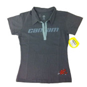 Can-Am Spyder Motorcycle Hugger Polo Short Sleeve Shirt Grey Womens/Ladies Small