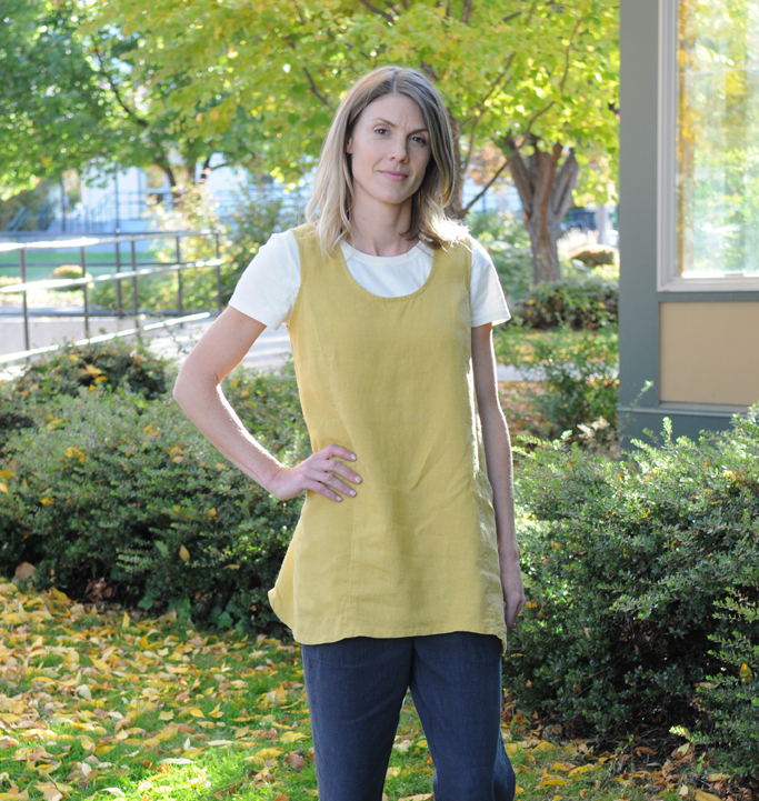 The Trapeze Tunic in Turmeric layers nicely over Graphite Stovepipe Pants.