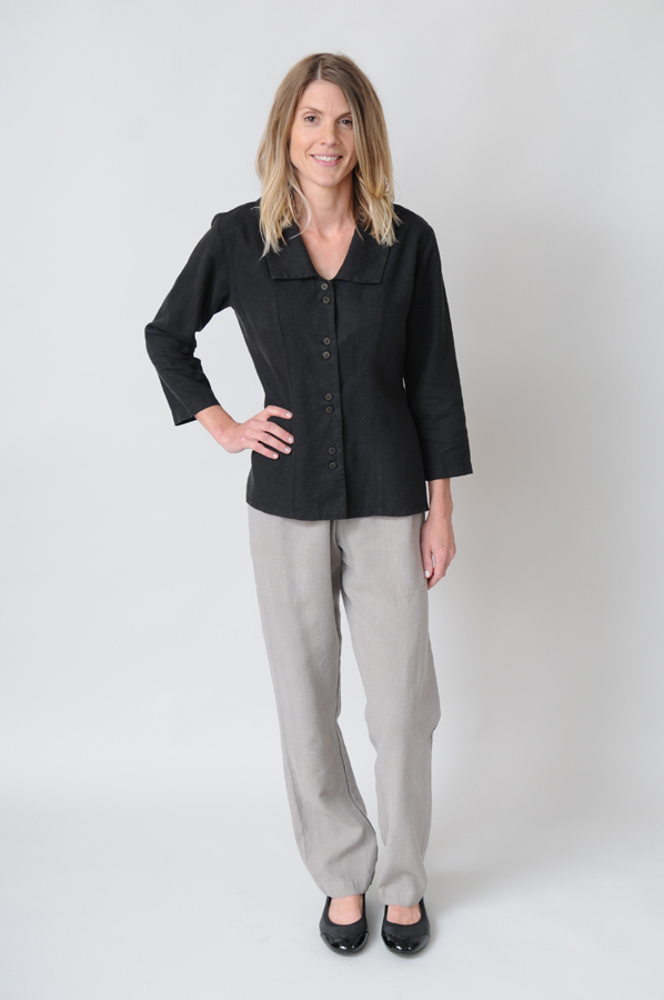The simple elegance of a Black Princess Top with Grey Fog Stovepipe Pants is at home in nearly any setting.
