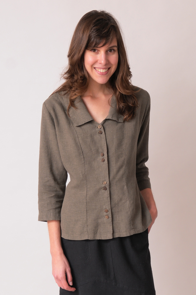 Our hemp-Tencel top in Bayleaf coordinates beautifully.