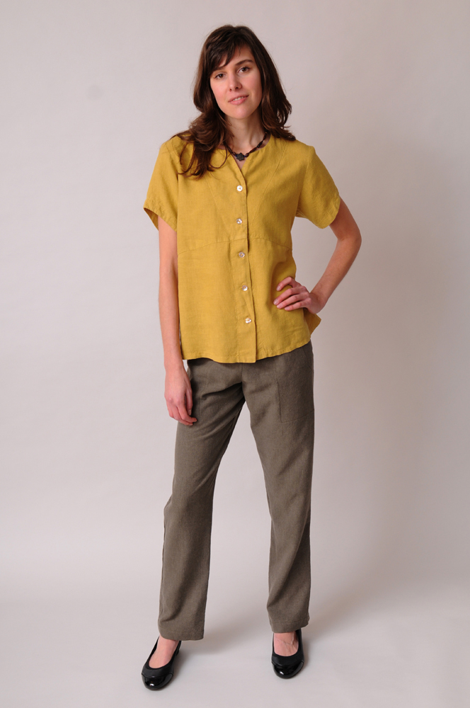 A pair of hemp - Tencel Stovepipe Pants looks smart below a Swallowtail Top.