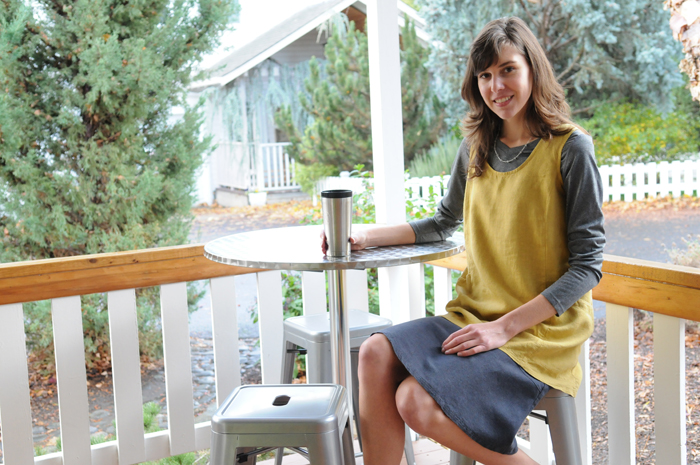"A Trapeze Tunic in Turmeric with 24"" Flip Skirt in Graphite combine nicely for versatile outfit that's travel-friendly."