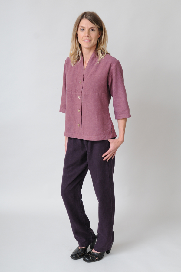 Vintage Rose Tuxedo Tops coordinate attractively over Plum Stovepipe Pants.