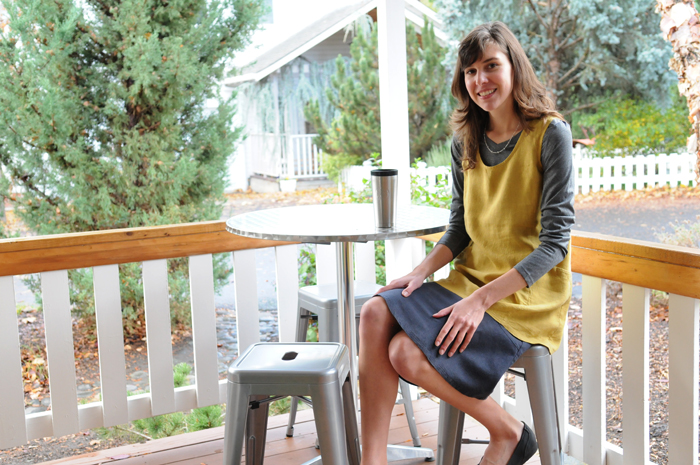 """A Trapeze Tunic in Turmeric with a Graphite 24"""" Flip Skirt in earth-friendly hemp/Tencel."""
