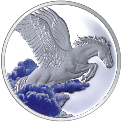 2014 Year of the Horse - Pegasus 1oz Silver Coloured Proof Tokelau Coin - Reverse