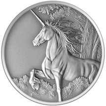 Creatures of Myth & Legend - Unicorn 1oz Silver Antique Tokelau Coin - Reverse