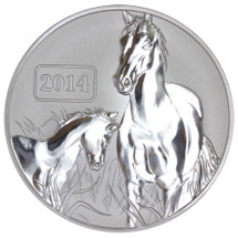 2014 Year of the Horse - Horse Family 1oz Silver Reverse Proof Tokelau Coin - Reverse
