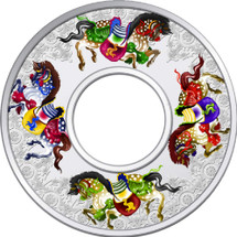 2014 Year of the Horse - Carousel Horses 2oz Coloured Proof Tokelau Coin - Reverse