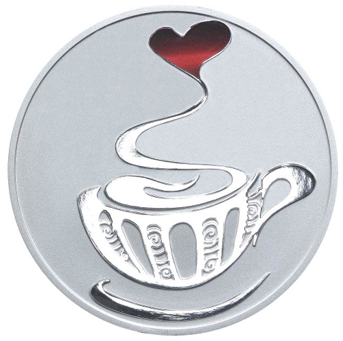 Coffee 1oz Silver Coloured Proof Tokelau Coin - Reverse