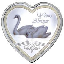 Messages of Love - 2013 Yours Always Swan Heart 20g Silver Heart-Shaped Coloured Proof Cook Islands Coin - Reverse
