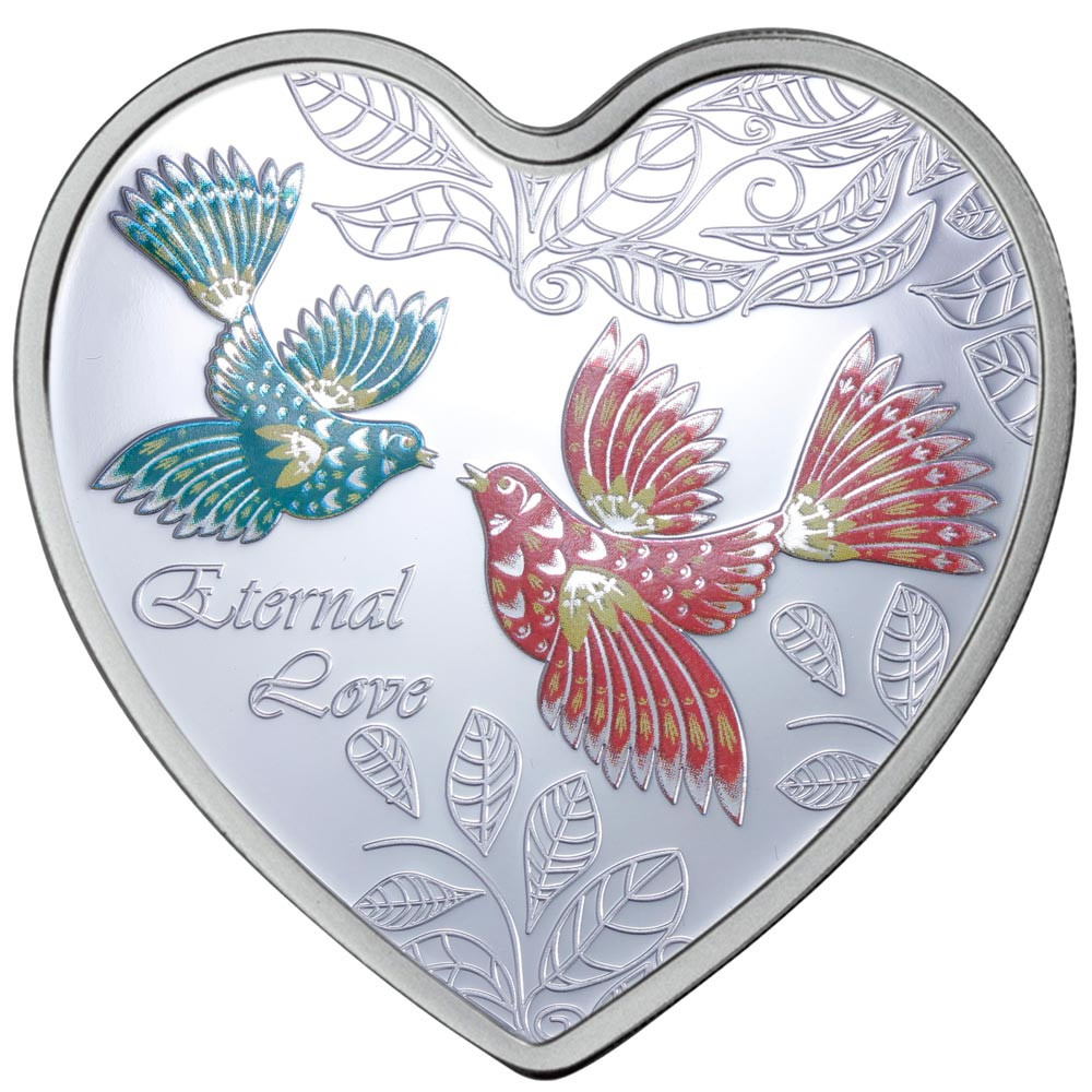Eternal Love Heart Silver Coloured Proof Cook Islands Coin wows lovers
