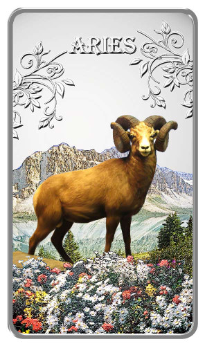 Zodiac Series - 2014 Animal Zodiac Aries 20g Silver Rectangular Coloured Proof Cook Islands Coin - Reverse