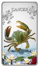 Zodiac Series - 2014 Animal Zodiac Cancer 20g Silver Rectangular Coloured Proof Cook Islands Coin - Reverse