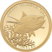 Tokelau Fish Kakahi Yellowfin Tuna 0.5g gold proof Tokelau coin from Treasures of Oz