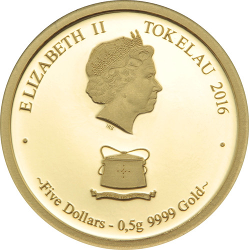 Monkey Family 0.5g Pure Gold Tokelau coin obverse