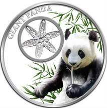 Giant Panda 1oz Silver Tokelau Coin with silver filigree insert