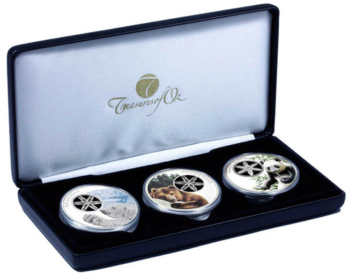 Snowflake Bears Coin Collection incorporating three 1oz silver coins featuring a Polar Bear, a Brown Bear and a Giant Panda.  Limited edition collection of just 250 sets.