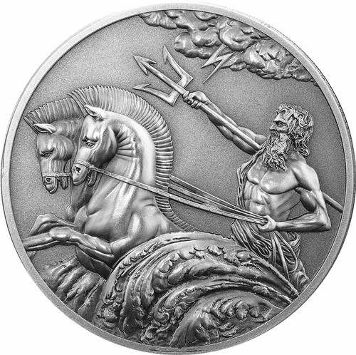 Poseidon High Relief Antique Silver Tokelau Coin