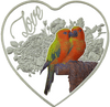 Love Birds Heart-shaped Tokelau Silver Coin 2018
