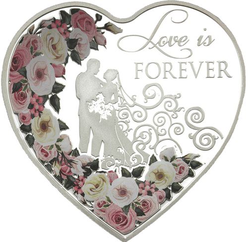 Love is Forever 2018 Tokelau heart-shaped 20g silver coin