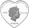 Love is Forever 2018 Tokelau heart-shaped 20g silver coin obverse