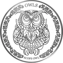 Scops Owl 65mm 1oz Tokelau Silver Coin 2018