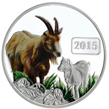 Goat Family 1oz Silver Coloured Proof Tokelau Coin - Reverse