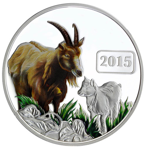 Goat Family 1oz Silver Coloured Proof Tokelau Coin - Reverse