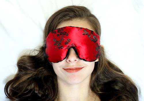 Red Moon Bloom Sleep Eye Mask by Candi Andi