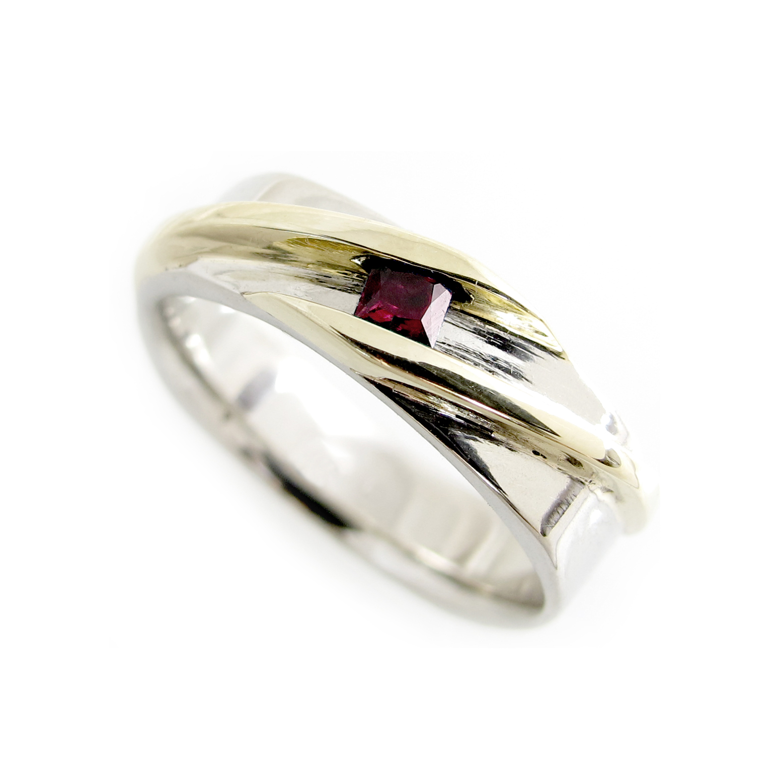 Modern Two Tone Gold Ring with Princess Cut Genuine Ruby