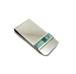 turquoise and malachite inlay money clip
