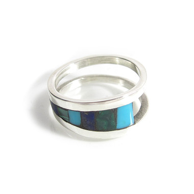 sterling silver open shank ring with turquoise, lapis and malachite inlay