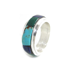 wide mens silver turquoise ring