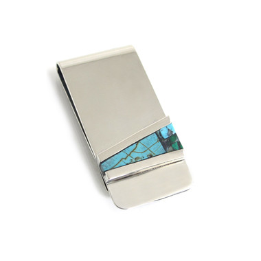 turquoise malachite money clip silver