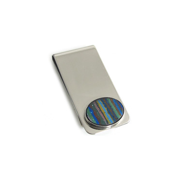 Rainbow Calsilica Oval Inlay Money Clip