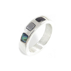 Abalone, meteorite and dinosaur bone inlay ring