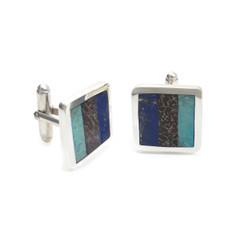 dinosaur bone, turquoise and lapis lazuli cufflinks