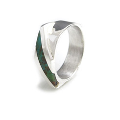 modern inlay ring women white gold