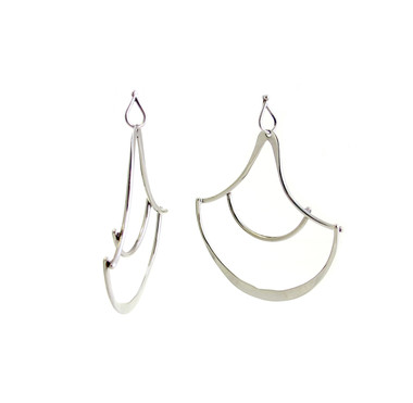 silver fish scale moroccan shape earrings