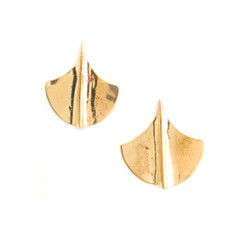 gold brass fan shaped stud earrings with sterling silver posts and bullet clutch back