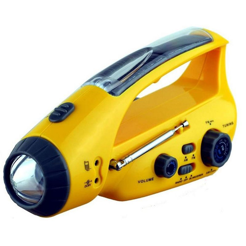 Solar or Wind Up Dynamo Radio with Flashlight