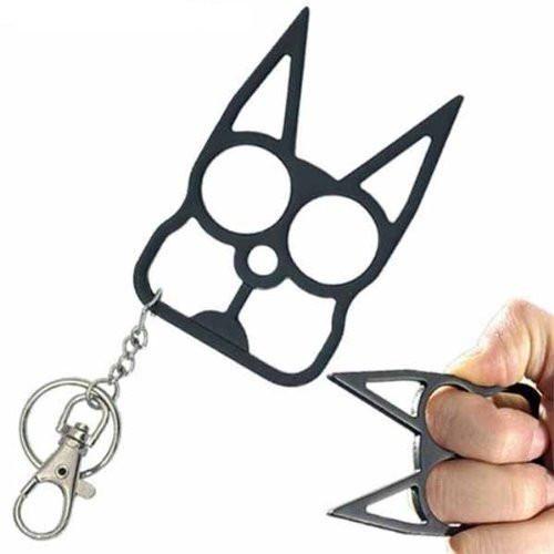 Black Metal wild Kat self defense keychain.