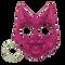 Pink Crazy cat defense keychain