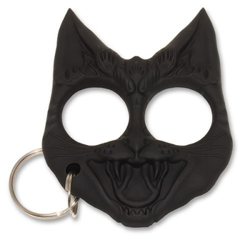 Black Crazy cat defense keychain
